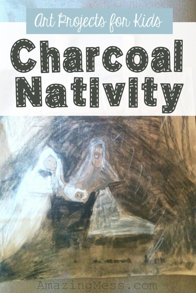 Charcoal is a fun medium to use for art projects for kids.  This charcoal Nativity Christmas project is perfect to go with the book The Christmas Miracle of Jonathan Toomey!