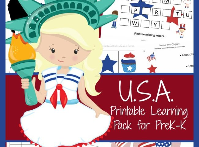 FREE July 4th USA Patriotic Printable Pack for Pre-K & K