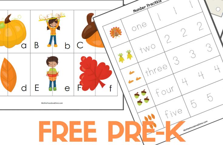 FREE Pre-K & K Thanksgiving Printable Pack