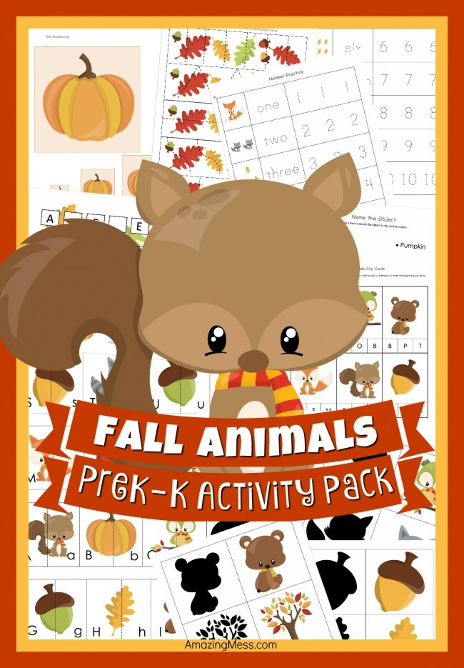 Fall Animals Pre-K and K Printable Pack (free)